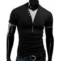 Стильный похудения V-образным вырезом цвет блока искусственного сдвоенными коротким рукавом полиэстер футболки для мужчин M