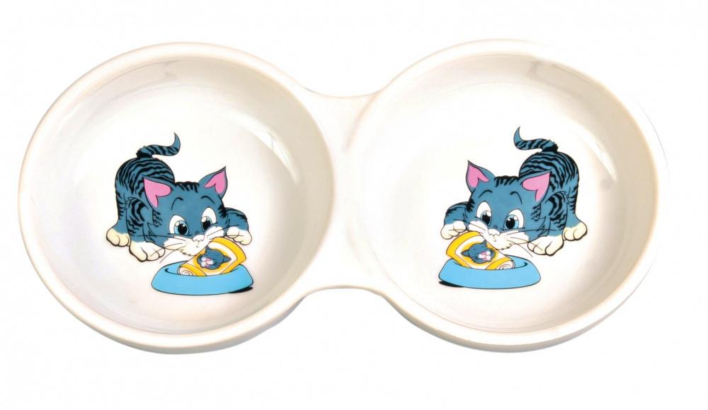 Миска керамическая двойная 2*0,2 л 24 см Trixie для собак и кошек