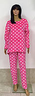 Женская пижама кофта парка и штаны из полированной махры розовая в горох 44-52 р, женские пижамы оптом