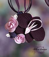 """Лучший подарок женщине. Кулон из полимерной глины """"Орхидея с розами""""."""