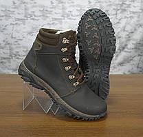 Ботинки зимние  Техно коричневые кожанные на шерсти