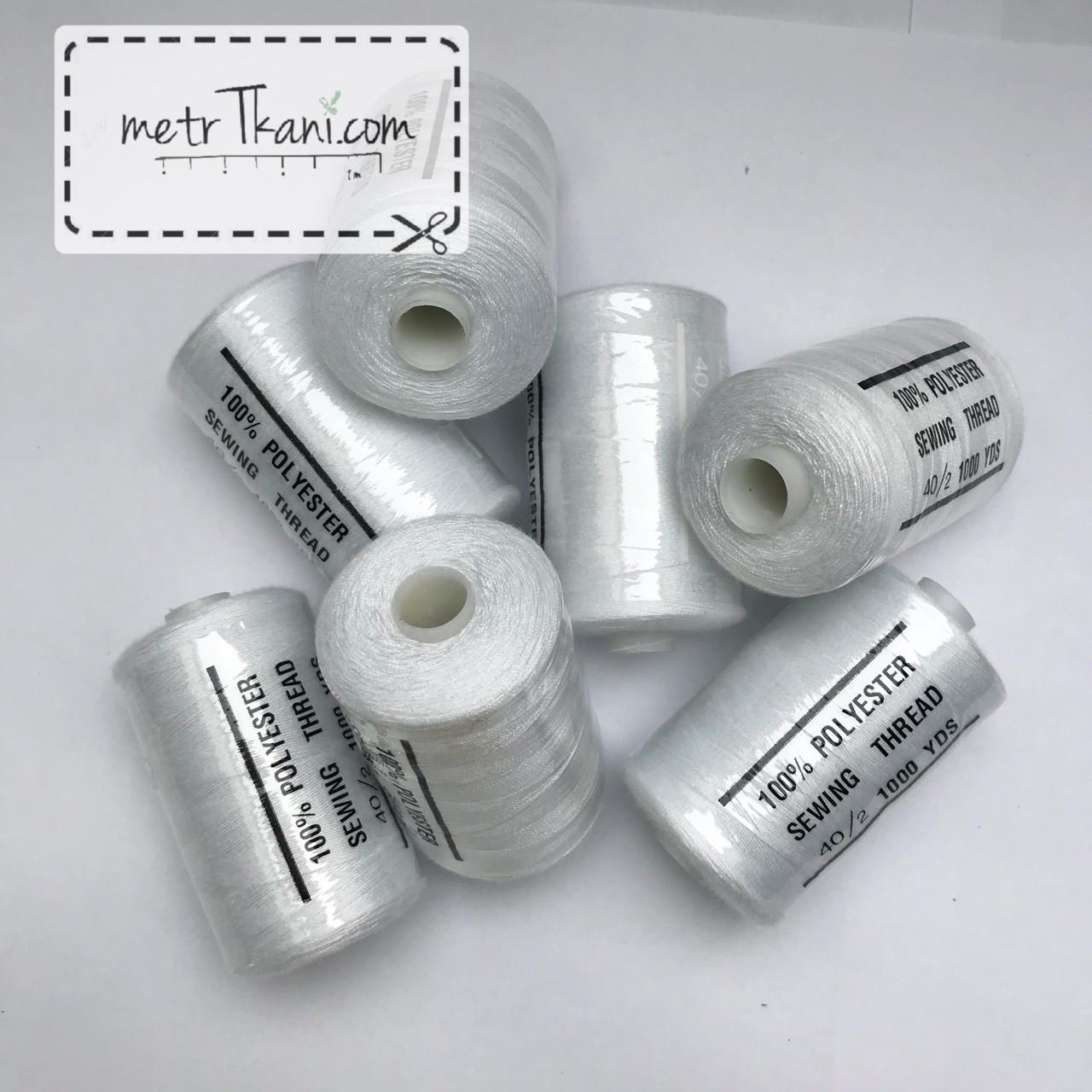 Нитки швейные 40/20 1000 ярдов, белого цвет № N-1000-101