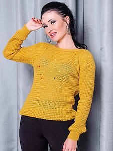 Женский свитер  -STAR- горчичный