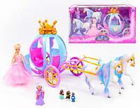 Карета с куклой и лошадью Золушка 205A: фея + 3 фигурки (свет/звук)