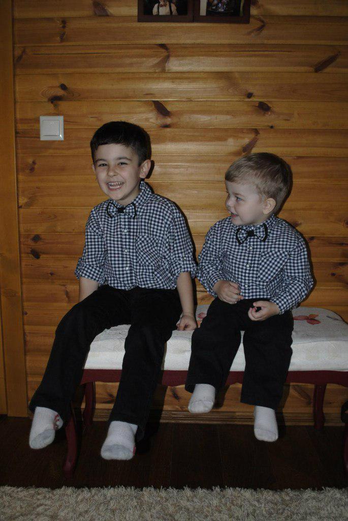 Рубашка клетка с бабочкой на мальчика с длинным рукавом