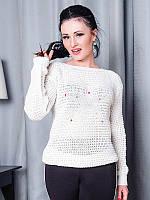 Белый женский свитер  -STAR-