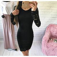 Платье гипюровое с длинными рукавами   + (5 цветов)