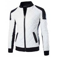 Стильный похудения стоять воротник Цвет Блок ребер Сращивание Длинные рукава PU кожаный куртка для мужчин XL