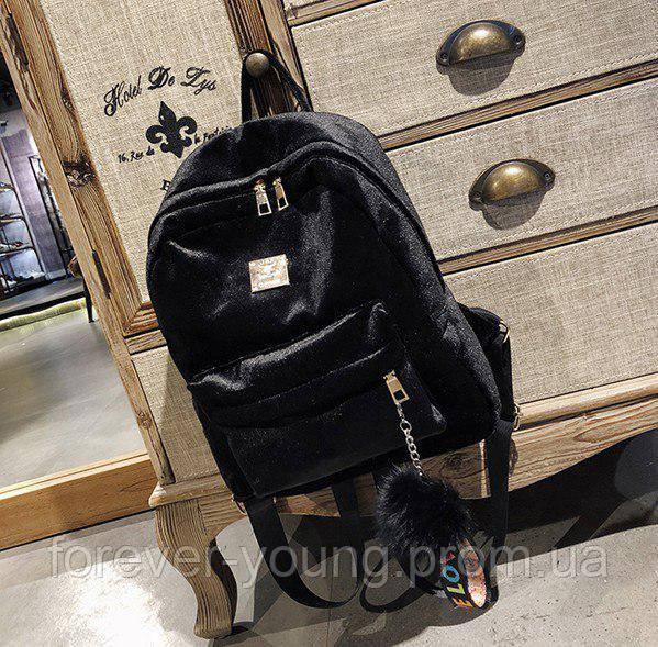 6574db3d42e8 Рюкзак велюровый с помпоном черный - Интернет-магазин