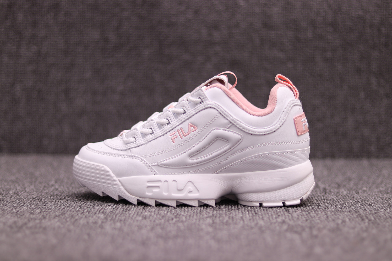 Женские кроссовки Fila Disruptor II White/Pink (реплика)