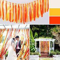 Разноцветная гирлянда с лентами украшение для праздника свадьбы 1м Оранжевый