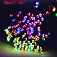15 м LED гирлянда с солнечной батареей на Новый год Разноцветный