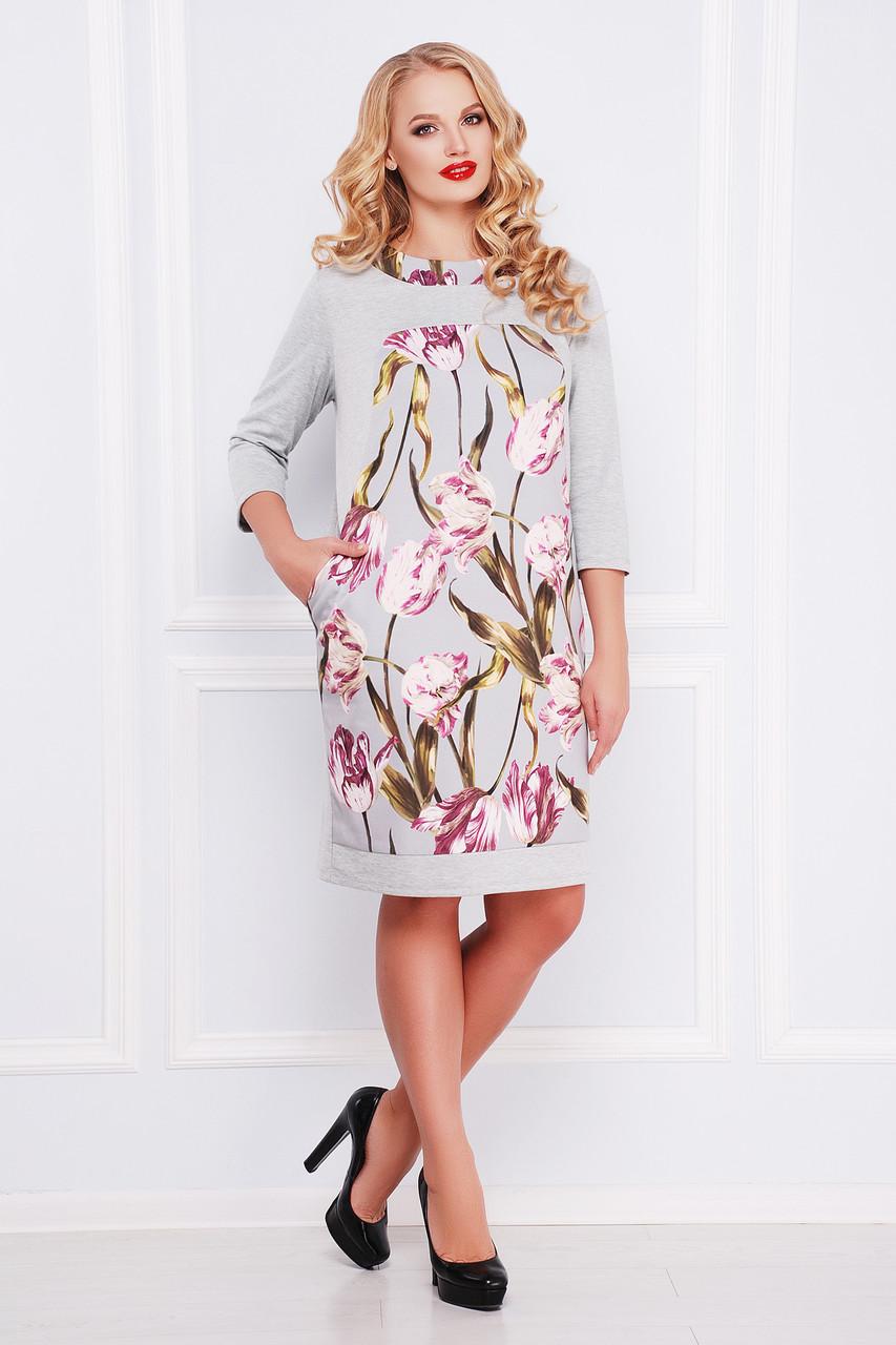 Сіра ділова сукня з французького трикотажу