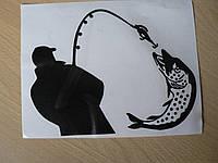 Наклейка vc Рыбак 185х140мм черная спиной с удочкой рыбалка рыба щука на крючке виниловая контурная авто справ