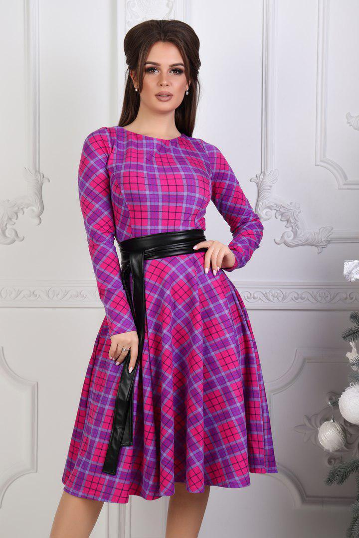 Шикарное платье с принтом, в комплекте с поясом