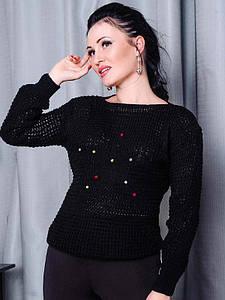 Черный  теплый свитер  -STAR-