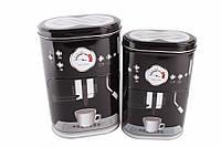 Жестяные коробки для хранения, Кофемашина, черные, 2 шт