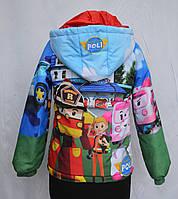 """Куртка для мальчиков с принтом """"Робокар Поли """", р 122, 128"""