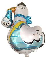 Фольгированный большой шар Аист с мальчиком 78 х 92 см.