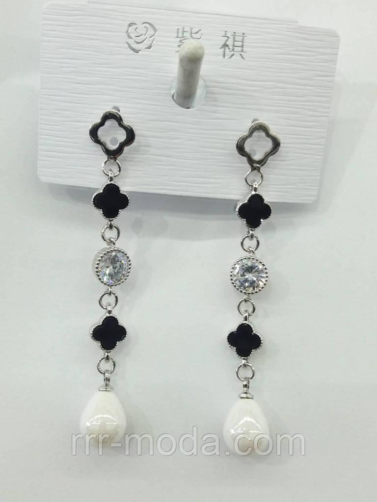 Серьги бренды, сережки гвозди с черной эмалью оптом. Бижутерия оптом RRR. 2371