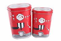 Жестяные коробки для хранения, Кофемашина, красные, 2 шт
