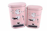 Жестяные коробки для хранения, Кофемашина, розовые, 2 шт