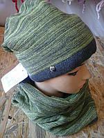Шапочка вязанная двойная с шарфом баф