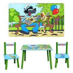 Детский Деревянный столик со стульчиками Ну Погоди M 1433