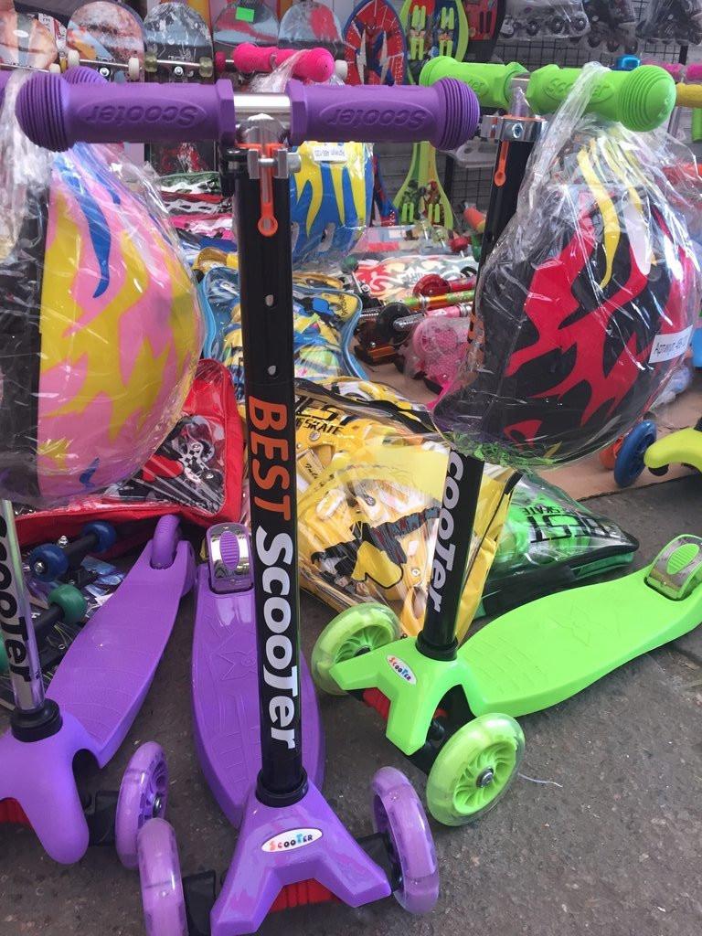 Самокат Best Scooter 466-113 со свет. колесами, руль до 90 см феолетов