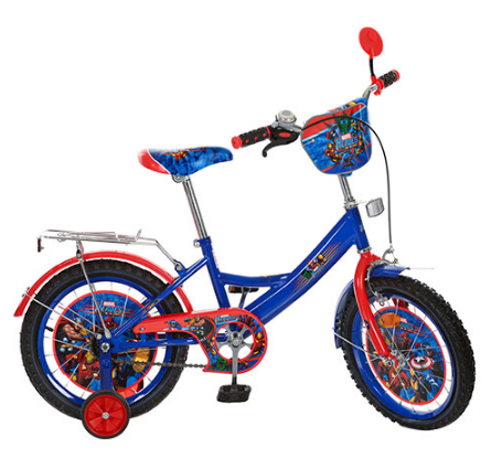 Детский велосипед PROF1 мульт 16д MH162 Герои, сине-красный***