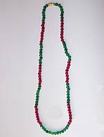 Ожерелье натуральные изумруды и рубины 5 мм длина 45см Индия