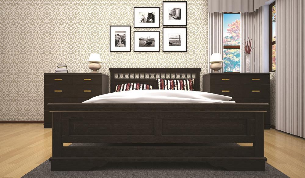 Кровать двоспальная с натурального дерева в спальню ТИС АТЛАНТ 13 160*190 сосна
