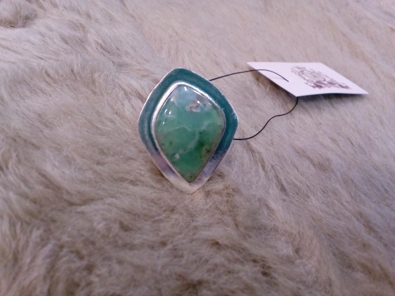 Оригинальное кольцо - природный хризопраз в серебре. Кольцо с хризопразом.18,5 размер. Индия!
