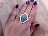 Оригинальное кольцо - природный хризопраз в серебре. Кольцо с хризопразом.18,5 размер. Индия!, фото 3