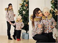 Детский горнолыжный костюм (комбинезон), цвет комби принт  (86-116 см) 12П2257
