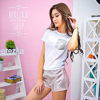 Женский стильный костюм с пайеткой :футболка и шорты (2 цвета)