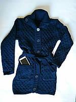 57c2f1f5262 Теплая вязаная кофта на пуговицах с поясом темно-синего цвета