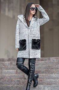 Женский кардиган с меховыми карманами