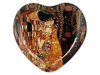 Тарелка стеклянная в виде Сердца Carmani Г.Климт Поцелуй