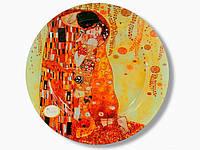 Стеклянная тарелка круглая Г.Климт Поцелуй Carmani, d-40 см