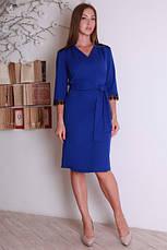 Стильное офисное облегающее платье с поясом, фото 2