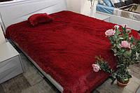 Красный ворсистый мягкий плед-покрывало с длинным ворсом, фото 1