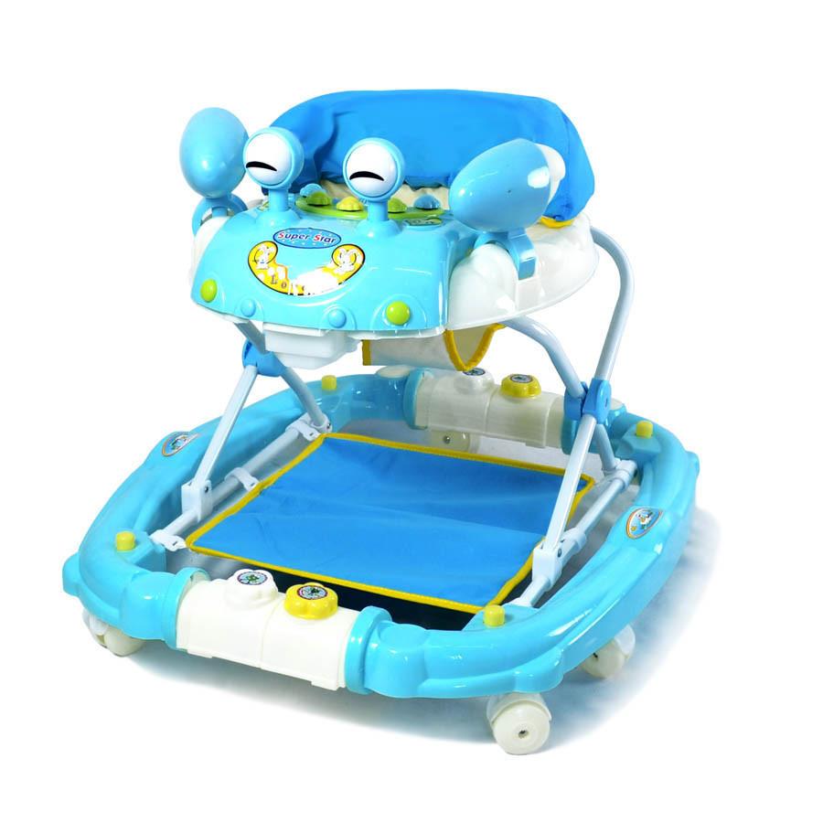 Детские ходунки Baby Tilly 22088 улитка с качалкой голубые