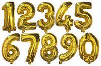 Воздушные Цифры Фольгированные, Золото (35 см.) - надув воздухом