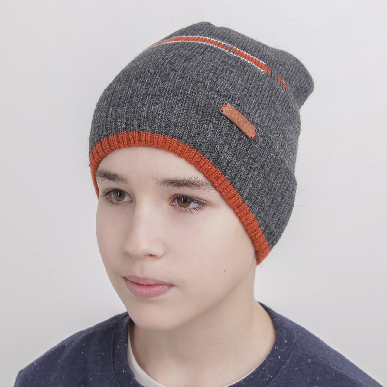 Шапка для мальчика подростка на флисе - Артикул 1079 (темно-серая)