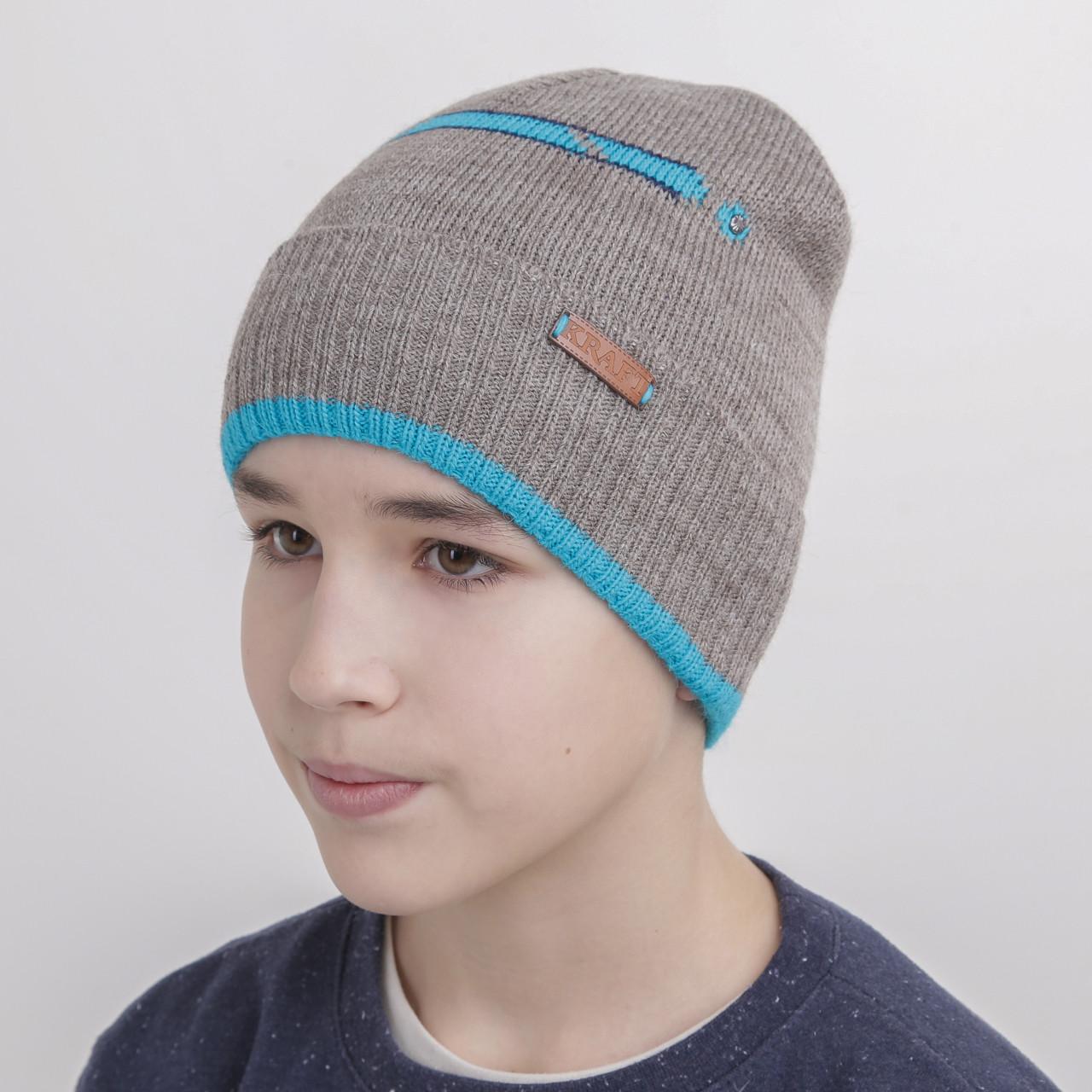 Шапка для мальчика подростка на флисе - Артикул 1079 (светло-серая)