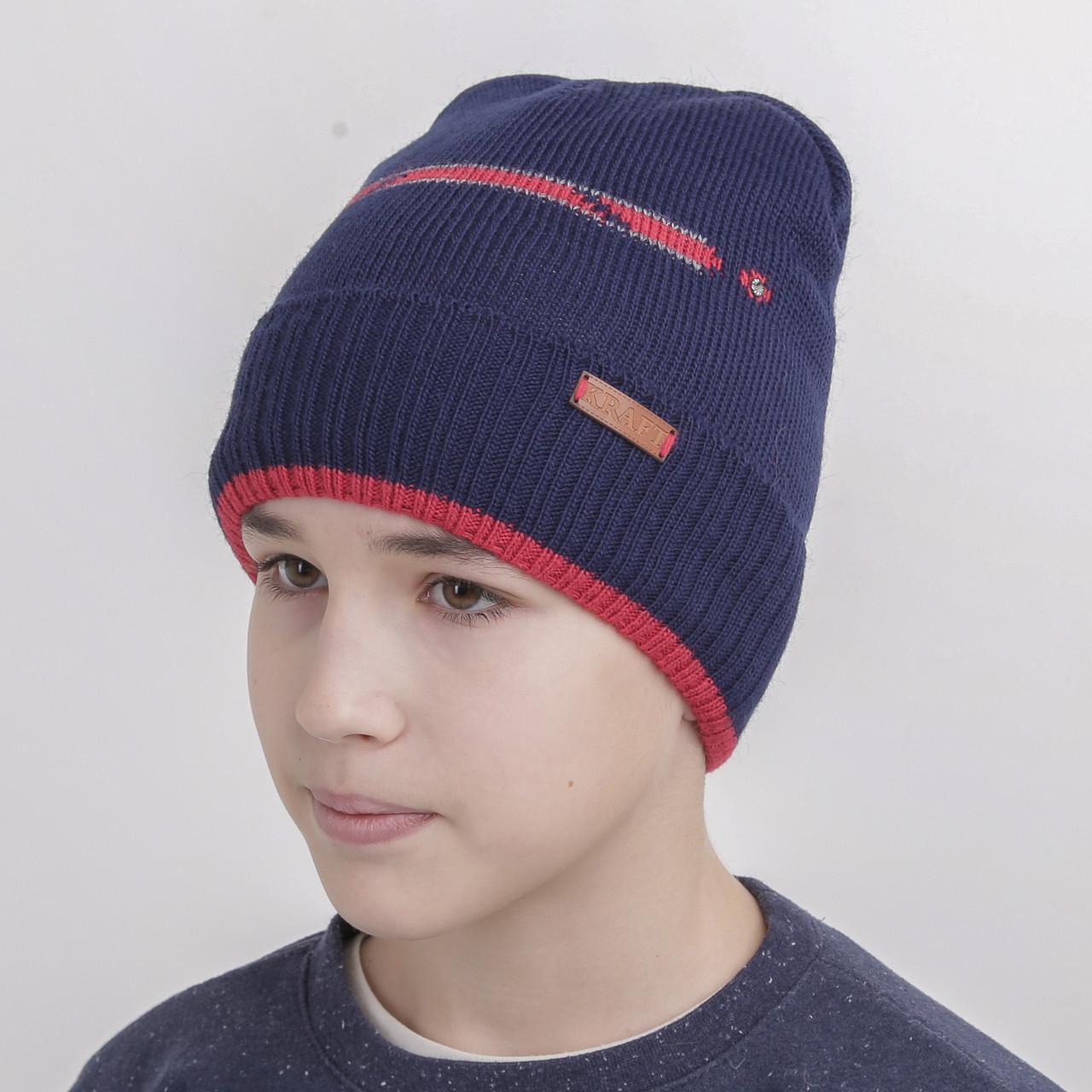 Шапка для мальчика подростка на флисе - Артикул 1079 (синий с красным)