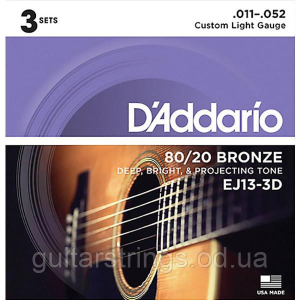 Струны D'Addario EJ13-3D Bronze 80/20 11-52 1 set