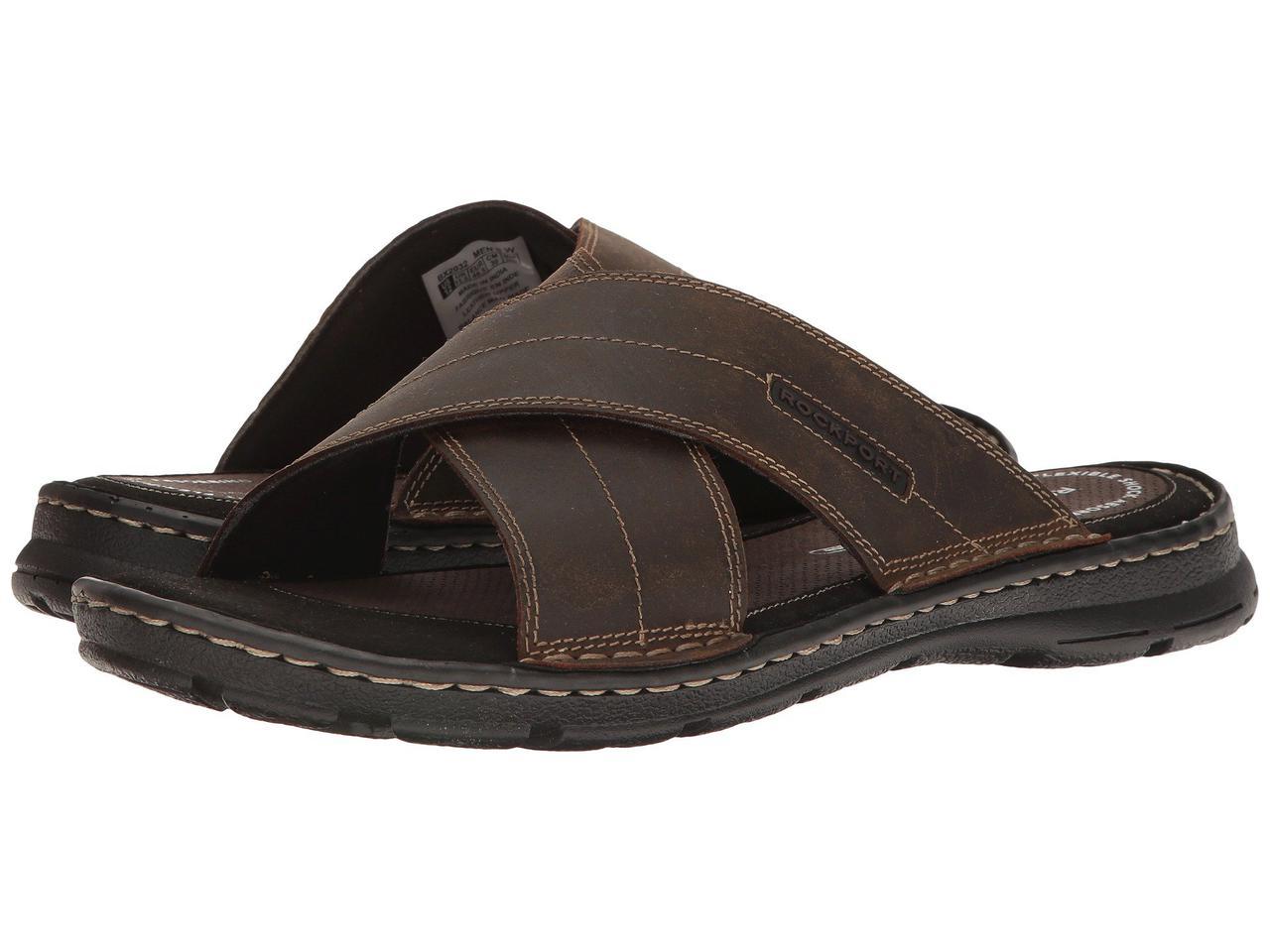 Сандали/Вьетнамки (Оригинал) Rockport Darwyn Cross Band Brown II Leather