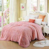 Розовый ворсистый мягкий плед-покрывало с длинным ворсом, фото 1
